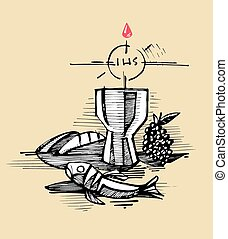 Eucharist - Hand drawn vector illustration or drawing of a...