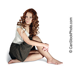Girl in short skirt on white background - Sexual long-haired...