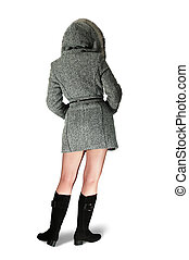 girl rear in gray coat - Woman in gray coat and black high...