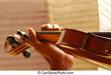 Playing the Violin - Close-up of hand playing the violin