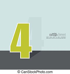 The number 4. four. abstract background. Outline. Logo or...