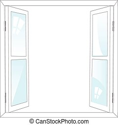 Open window - The Open window on white background is...