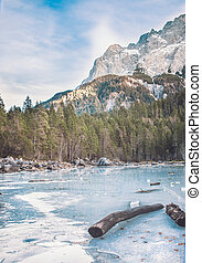 Frozen forest lake in Bavarian Alps near Eibsee lake, winter
