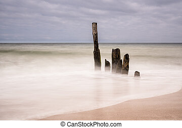 Groynes on shore of the Baltic Sea in the evening.