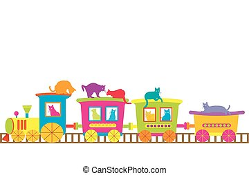 The train of cats - Cartoon train with colored cats