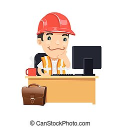 Foreman at his Desk. Isolated on white background. Clipping...
