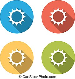Collection of 4 isolated flat buttons for sun - sunny, sunshine, heat