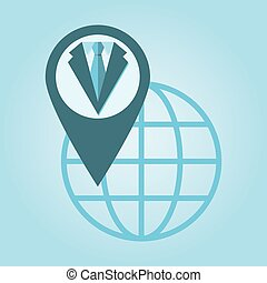 Thin line icon with flat design element of global positioning system suit, pin destination, point on map, exact coordinates, direction pointer.