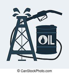 gas pump nozzle and oil barrel