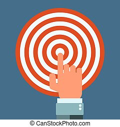 hand with index finger touching a target or pressing a button