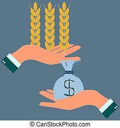 Hands holding wheat ears and money, agribusiness,...