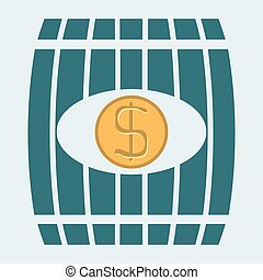 Vector illustration of a barrel with money