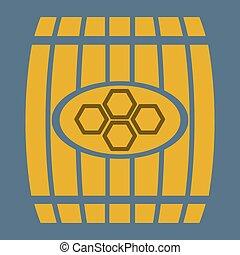 illustration wooden barrel  of honey