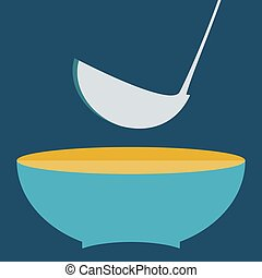 plate with  ladle vector illustration. Set of kitchen items