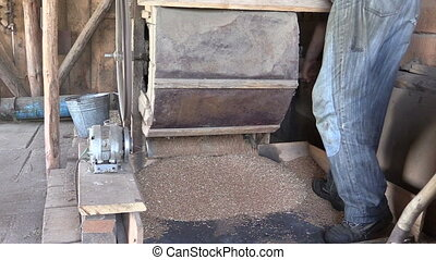 grain cleaner harp barn - close up of old antique manual...