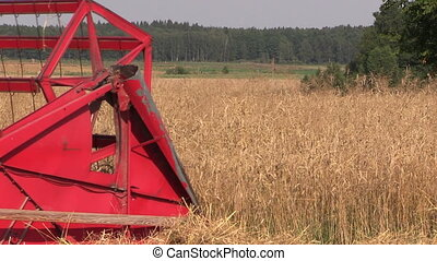 agriculture works - Agricultural combine harvester cut ripe...