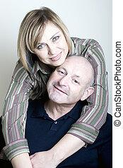 ritratto, Felice, mezzo, età, coppia, marito, moglie,...