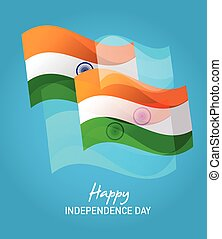 Wind Wave India Flags in on Blue , happy independence day -...