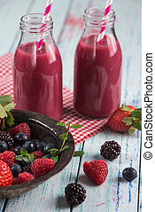 Fresh homemade berries smoothie with fresh fruits