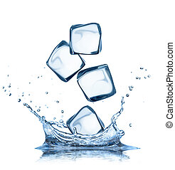 Ice cubes in water splashes isolated on white - Falling ice...
