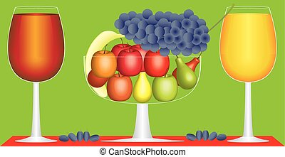 Still life of fruit and wine
