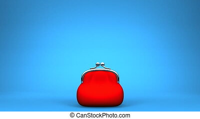Purse And Coin On Blue Background 3D render Animation