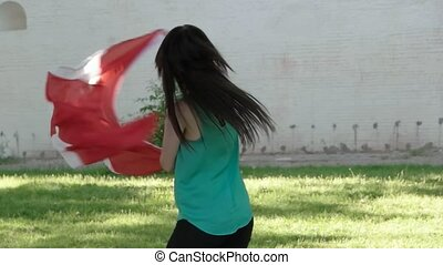 Beautiful girl with a Canada flag. Canada day fun
