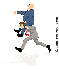 Worker and exploiter - Vector illustration of a worker and...