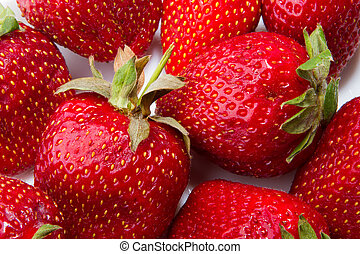 Strawberry - full frame Fresh ripe perfect strawberry - Food...