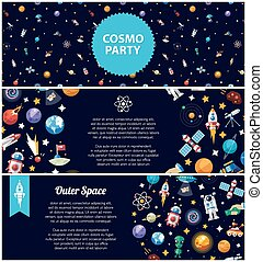 Set of flat design flyers with space icons and infographics...