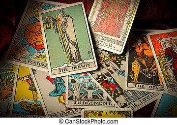 Jumbled and Scattered Pile of Tarot Cards - A pile of tarot...
