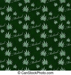 Green Medical Marijuana Tile Pattern Repeat Background that...