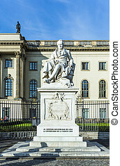 Statue of Wilhelm von Humboldt in Berlin, Germany. Humboldt...