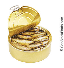 Opened Tincan - opened tincan with sardines, isolated on...