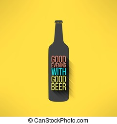 Vector beer bottle design background with a cool slogan in modern flat design. Bar poster with long shadow