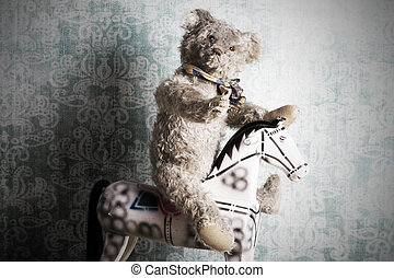 Vintage Teddy bear - Unsightly vintage Teddy bear riding an...
