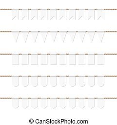 Bunting banners set - Collection of white bunting banners on...