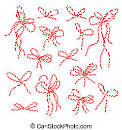 Bakers twine bows set - Collection of red bakers twine bows...