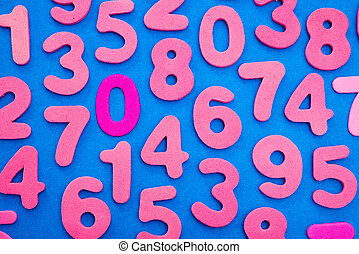 Pink Numbers on Blue - Pink single digit numbers placed...