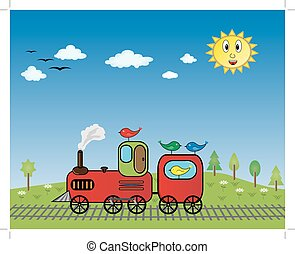 Train with birds, trees, sun, clouds and flowers - vector...