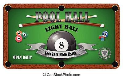 Billiard poster. Pool hall - Eight ball. EPS 10