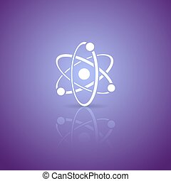 Atom icon - White vector atom icon on violet gradient...