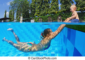 Laughing child with joyful mother swimming in the pool -...