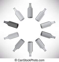 Bottles Set - Grey Glass Bottles Set Isolated on Grey...