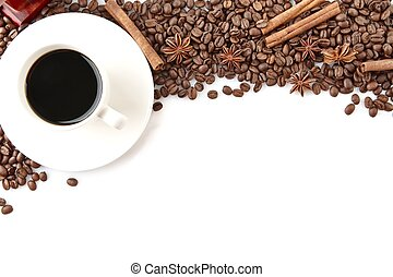 Coffee cup with beans at the top on white - Closeup...