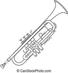 dark monochrome contour trumpet wind instrument illustration