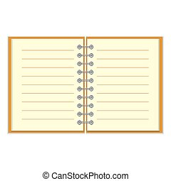 Open spiral lined notebook with orange cover isolated on...