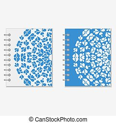 Two blue and white notebook covers design