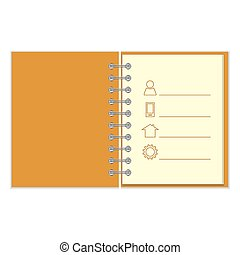 Ring-bound notebook with personal information Orange cober...