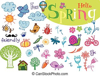 Hello Spring doodle hand-drawn set - Set of vector labels in...